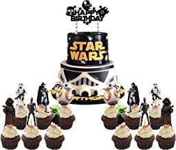 25 PCS Star Wars Cake Topper Cupcake Toppers Decorations Birthday Party Supplies for Outer Space Wars Theme Birthday Party...