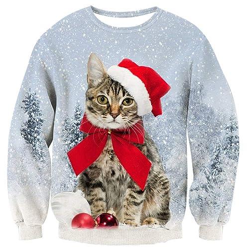 25ce85149 Loveternal Unisex Christmas Jumper Novelty Xmas Pullover Men 3D Printed  Long Sleeve T-Shirt S