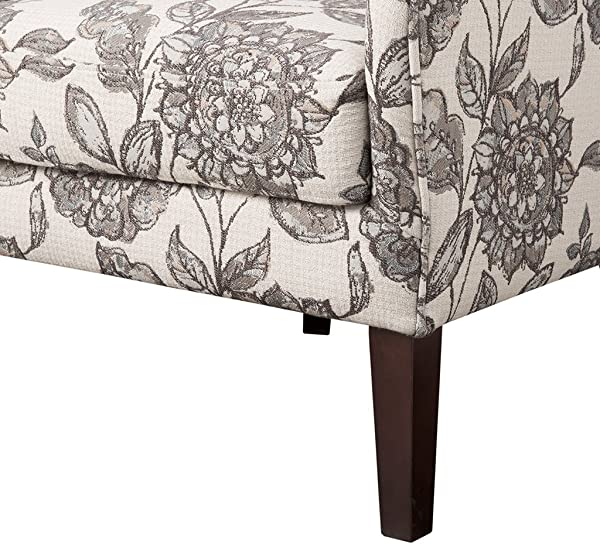 Madison Park FPF18 0428 Arianna Accent Hardwood Faux Linen Modern Contemporary Style Living Room Sofa Furniture Swoop Wing Arm Bedroom Chairs Seats Deep Floral