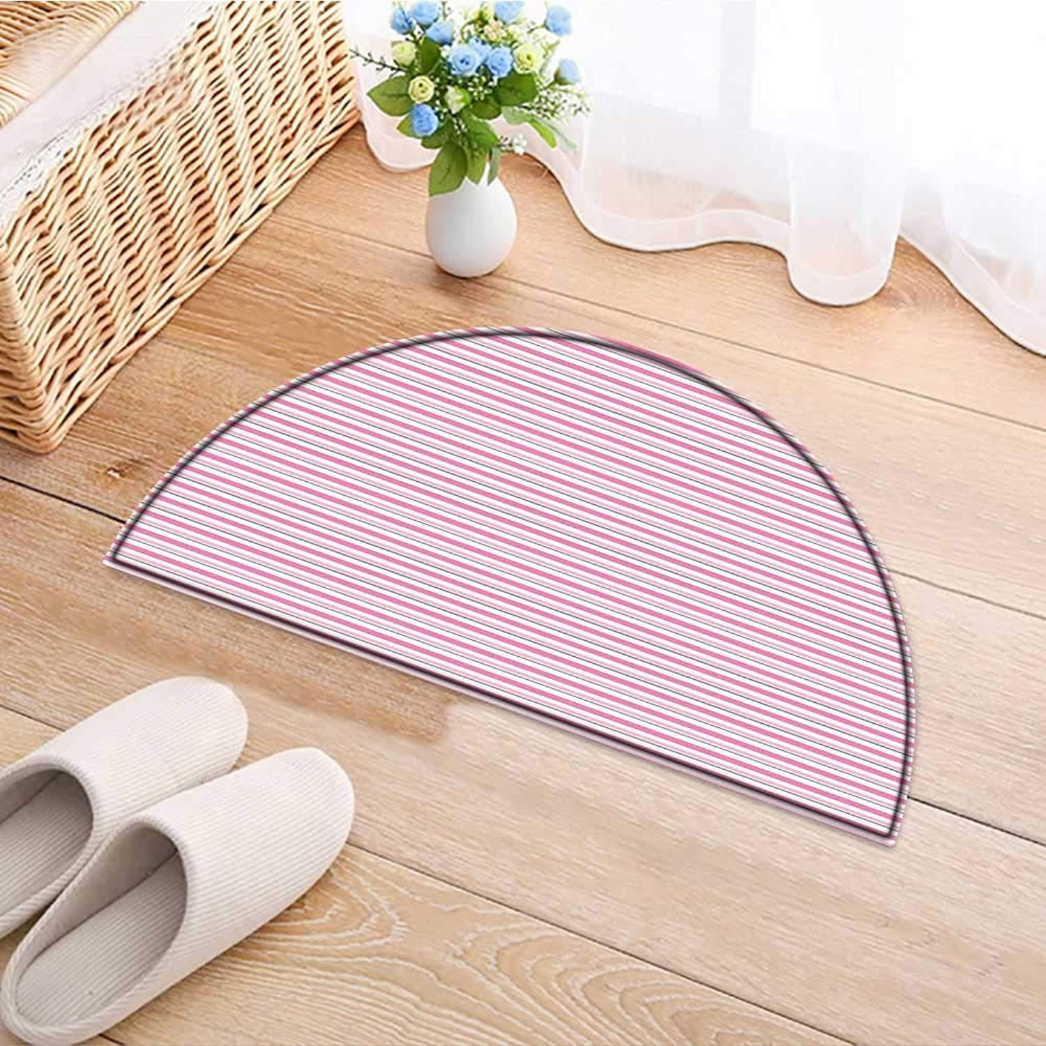 Semicircle Rug Kid Carpet Toned and Grey Lines on White Backdrop Striped Pattern Modern Design White Pink Home Decor Foor Carpe W39 x H28 INCH