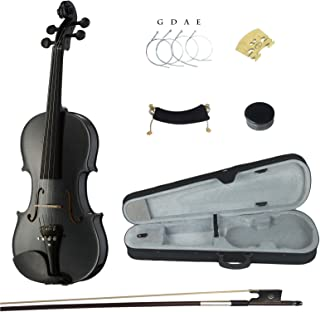 Kinglos 4/4 Black Grid Colored Ebony Fitted Solid Wood Violin Kit with Case, Shoulder Rest, Bow, Rosin, Extra Bridge and Strings Full Size (HB1311)