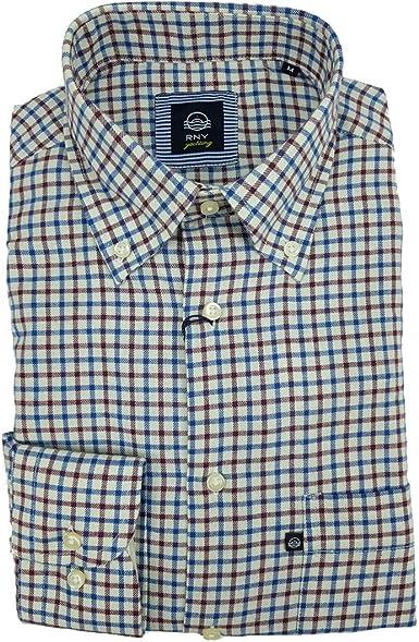 Rionero Camisa de hombre de franela satinada a cuadros de color liso con bolsillo clásico L XXL