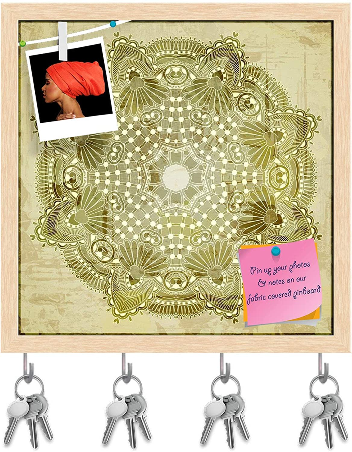 Artzfolio Circle Flower Ornament Key Holder Hooks   Notice Pin Board   Natural Brown Frame 20 X 20Inch