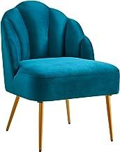 كرسي مخملي منجد مع ساقين مطلية بمسحوق لغرفة المعيشة وغرفة المكتب والمنزل باللون الأزرق المخضر