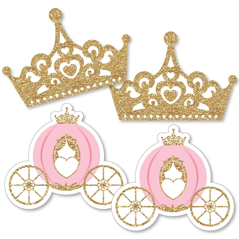 Little Princess Crown - Tiara & Carriage Decorations DIY Pink and Gold  Princess Baby Shower or Birthday Party Essentials - Set of 10