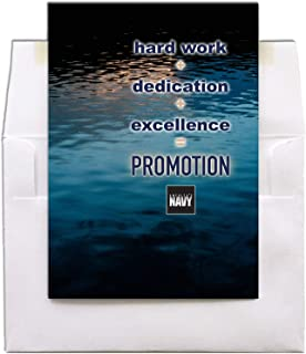 Hard Work + Dedication + Excellence = Promotion - United States Navy Military Promotion Congratulations Greeting Card - Includes Envelope - 5
