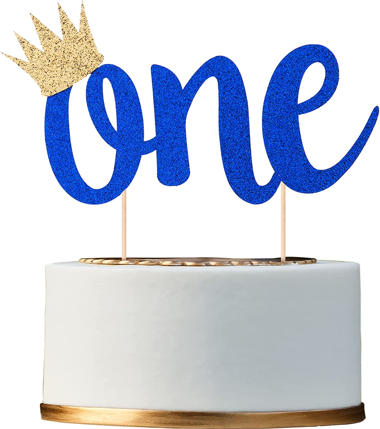 Glitter Cake Topper for Limited Special Price High quality 1st Birthday Blue Royal Boy with Crown