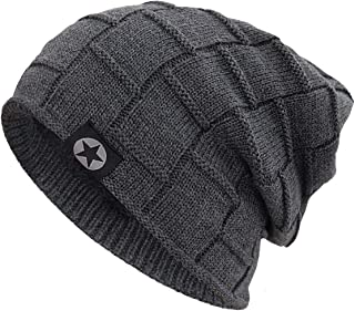 Bodvera Winter Knit Warm Hat Thick Soft Fleeced Slouchy Beanie Ski Skully Cap for Men & Women