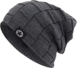 Bodvera Winter Knit Warm Hat Thick Soft Fleeced Slouchy Beanie Ski Skully Cap for Men & Women