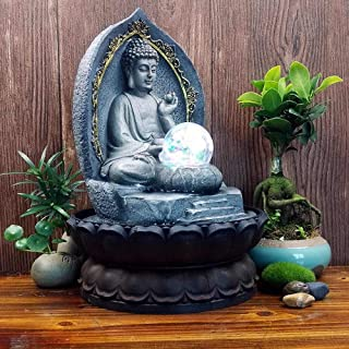 Chinese Lucky Buddha Statue Figurines Water Fountain Office Tabletop Water Ornament Resin Craft Wedding Gift for Home Decoration Accessories