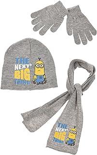 Minions Ik eenvoudige onverbeterbare muts, sjaal en handschoenen in blauw of grijs of donkerblauw maat 52 of 54