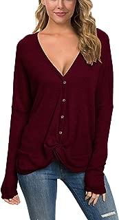 IWOLLENCE Womens Waffle Knit Tunic Blouse Casual Tops Twist Knot Tops Long Sleeve Henley Tops Bat Wing Shirts