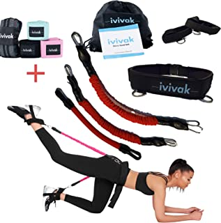 ivivak Booty Belt Bands with Resistance Bands for Legs and Butt Exercise, Adjustable Belt | 3 Adaptable Levels for Speed and Agility Training Workout, Vertical Jump Trainer, Strength Training.