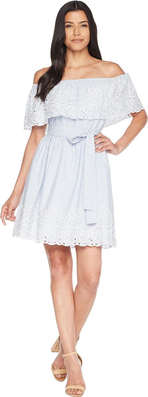CeCe Women's Off The Shoulder Dress w Embroidered Edge blueebird 2
