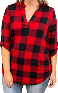 Womens Plus Size Plaid Shirts Casual V Neck 3/4 Sleeve Tunic Tops Checked Cuffed Blouse