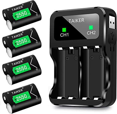 TAIKER Compatible with Xbox One Battery 4 Pack x 2550mAh Rechargeable Controller Battery and Charger for Xbox One/Xbo...