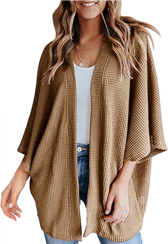 WOSHUAI Women's Plus Size Fall Lightweight Cardigans Sweaters Bat Sleeve Open Front Coats Casual Solid Asymmetric Hem Blouse