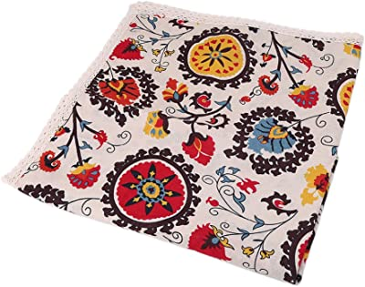 BetterM Cotton Linen Sun Flower Table Cloth, National Wind Crochet Tablecloth Covers For Wedding Party