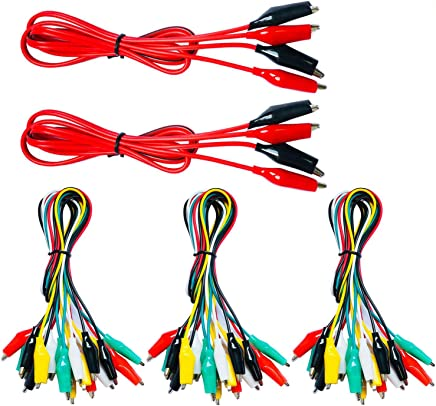 Wideskall 6 Pcs 20 inch Double Ended Alligator Clips Test Lead Jumper Wire Red//Black