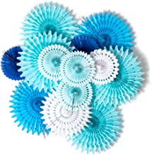 Hanging Honeycomb Paper Fans Party Decoration Assorted Colors SUNBEAUTY (Blue)