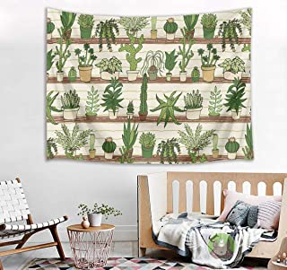 HVEST Cactus Tapestry Tropical Desert Succulent Plants on Wood Shelf Wall Hanging Blanket Watercolor Botanical Tapestries for Bedroom Living Room Dorm Decor,60Wx40H inches