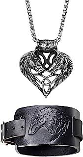 Cupimatch Collier Brcelet Homme T/ête de Loup Punk Rock,Pendentif Double T/ête de Loup en Forme de Coeur en Acier Inoxydable et R/églable Brcelet en Cuir pour Homme