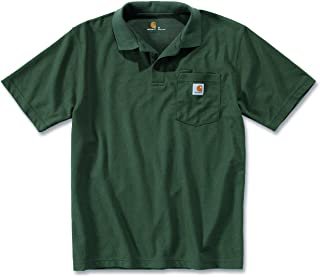 283e5169f60 Carhartt Mens Short Sleeve Rib Knit Button Work Pocket Polo Shirt