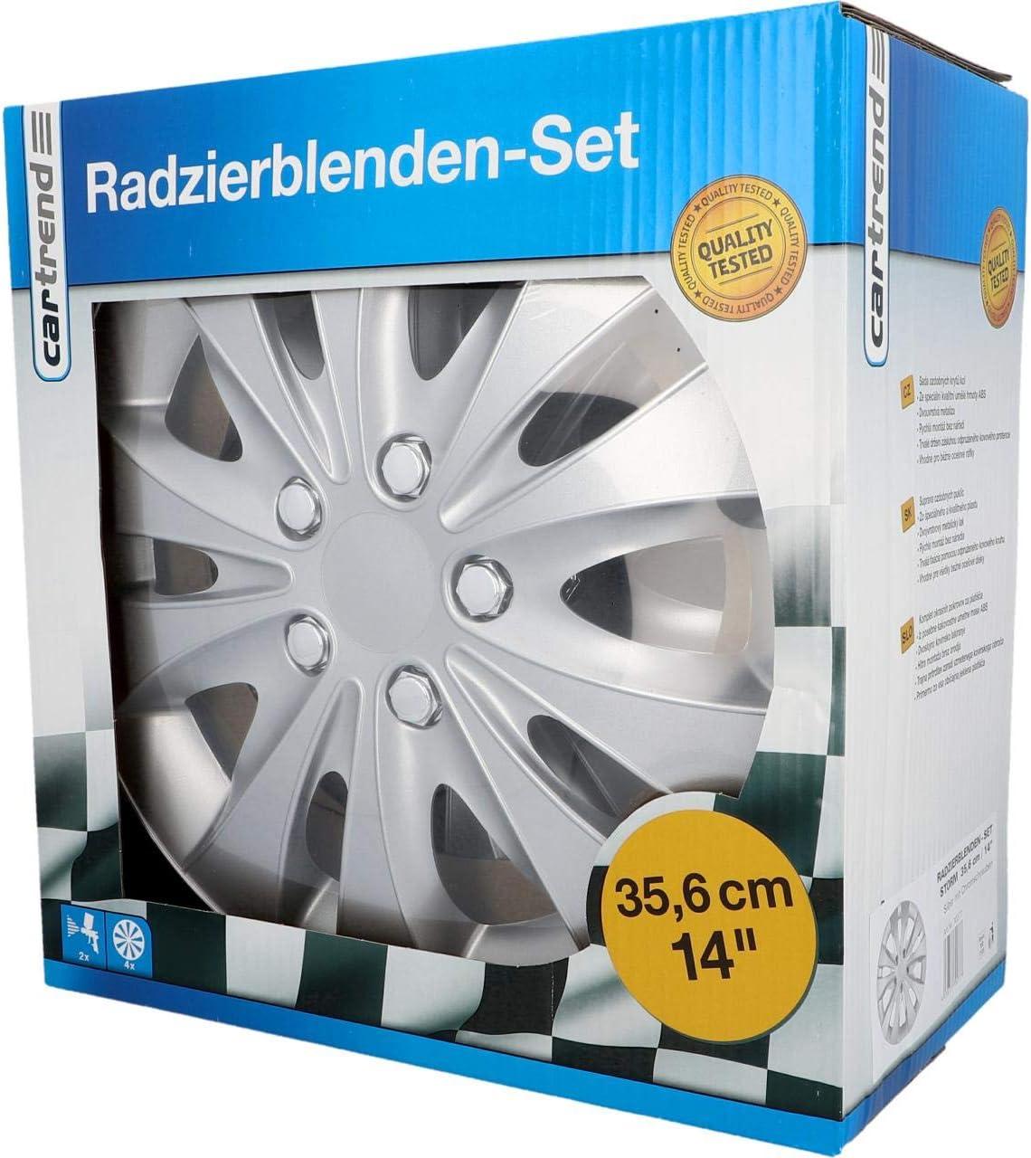 Cartrend 70278 Radzierblenden Set Storm 15 Zoll 4 Stück Silber Mit Chrommuttern Radkappen Mit Metallic Hochglanzlackierung Auto