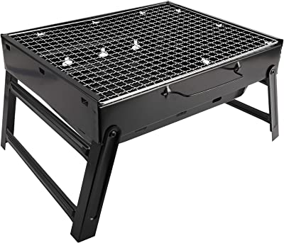 XMSound Portable Charcoal Grill - Stainless Steel Folding Grill Tabletop Outdoor Smoker BBQ for Picnic Garden Terrace Camping Travel (Large 17 x 10 x 11.5 inch)