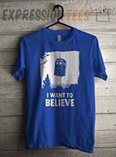 I Want to Believe Men's Flying Tardis Shirt, Sci Fi Shows Shirt, Expression Tee, Gift for Fan, Birthday Tee