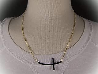 Black Gold Tone Sideways Horizontal Cross Necklace Pendant 19.5-21.5