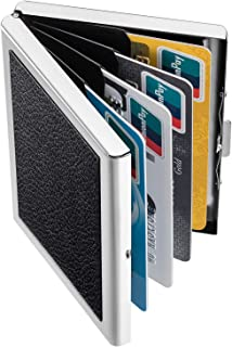 DMFLY RFID Blocking Credit Card Holder, Slim Wallet with Six Slots for Credit Cards and ID, Stainless Steel Case with Luxury PU Leather Exterior, Metal ID Card Case for Men and Women