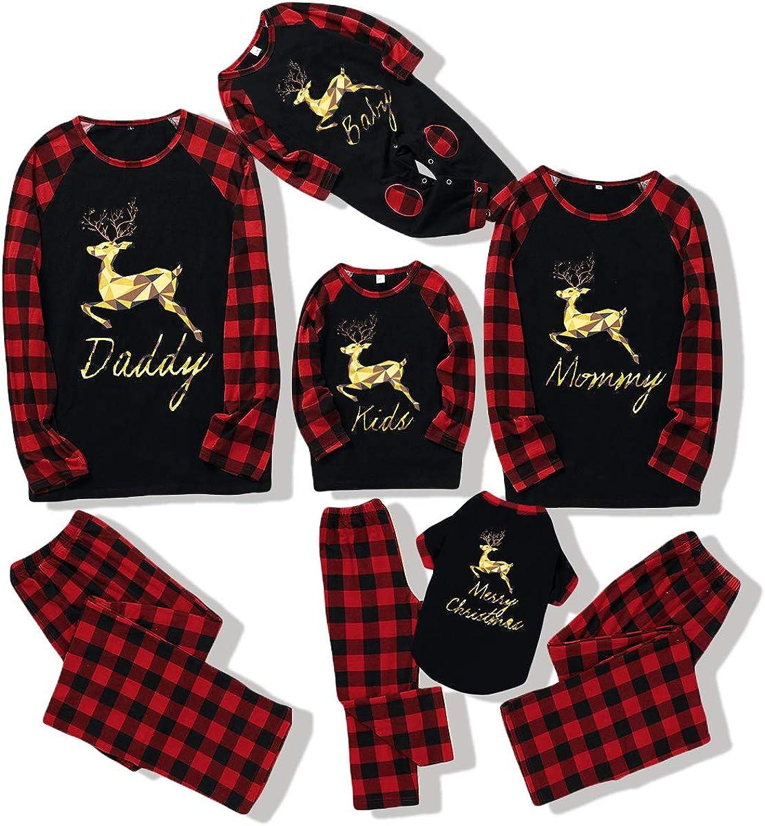 Matching Family Christmas Pajamas Plaid Golden Deer Long Sleeve Printed Xmas Sleepwear Set