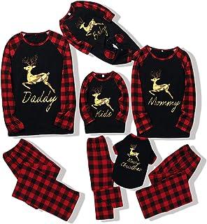 Navidad Familia Coincidencia Trajes a cuadros Elk Navidad Pijamas Ropa de Dormir para Bebé Niño Mamá Papá Mascota