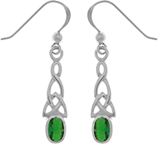 Jewelry Trends Celtic Trinity Knot Sterling Silver Dangle Earrings with Green Glass Accents