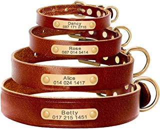 Adebie - Personalized Dog ID Collar Genuine Leather Small Medium Dogs Cat Collar Custom Pet Name and Phone Number Engraving