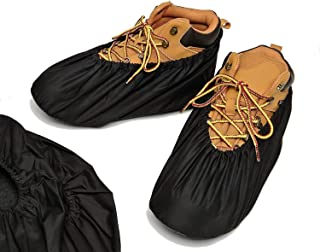 Reusable Shoe Covers - Premium Boot Covers for Contractors Non Slip Washable | Large and Extra Large in Black (4 Pack Large X-Large)