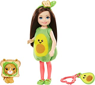 Barbie Club Chelsea Dress-Up Doll, 6-in Brunette in Avocado Costume with Pet Kitten and Accessories, Gift for 3 to 7 Year ...