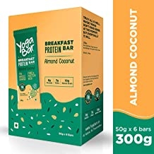 Yogabar Breakfast Protein Almond Coconut Bars - 300gm, 50g x 6 Bars