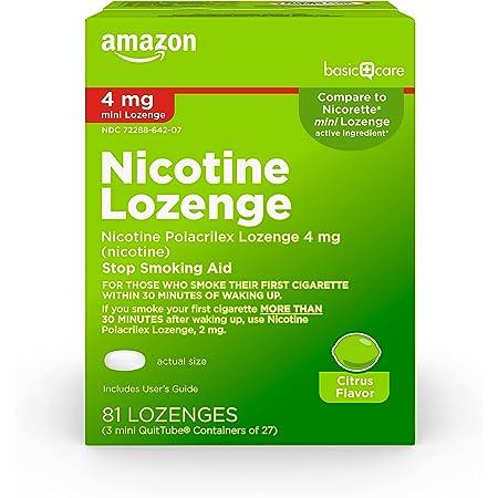 Amazon Basic Care Mini Nicotine Polacrilex Lozenge, 4 mg (nicotine), Stop Smoking Aid, Flavor; quit smoking with nicotine lozenge, Citrus, 81 Count