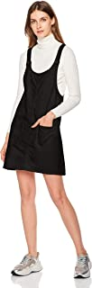 Womens Casual Short Denim Pinafore Bib Overall Dress with Pockets