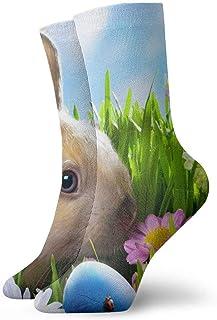tyui7, Hermosos calcetines de compresión de conejito de pascua y huevos de colores calcetines de compresión antideslizantes calcetines deportivos de 30 cm acogedores para hombres, mujeres y niños