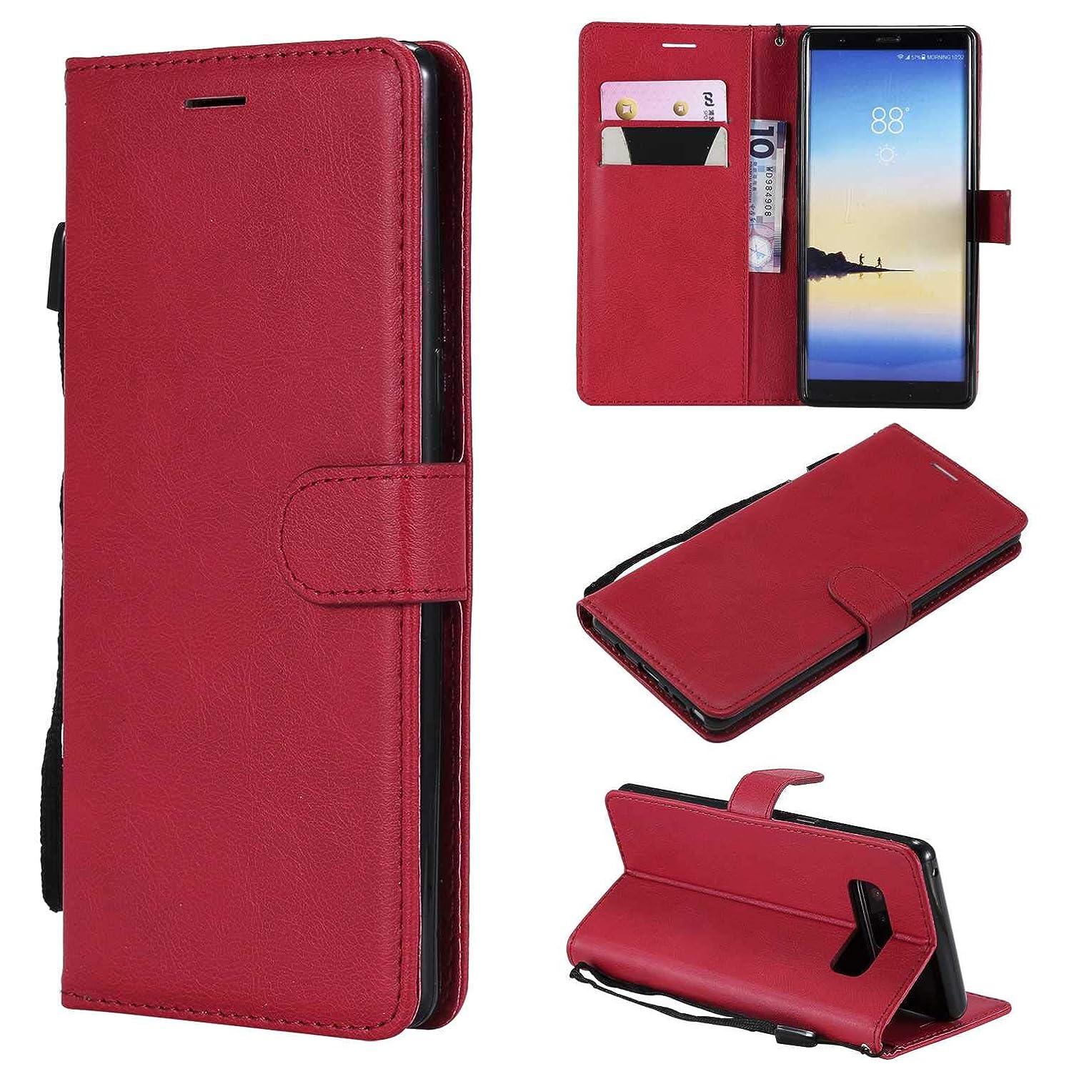 スパン不良品病院Galaxy Note 8 ケース手帳型 OMATENTI レザー 革 薄型 手帳型カバー カード入れ スタンド機能 サムスン Galaxy Note 8 おしゃれ 手帳ケース (3-レッド)