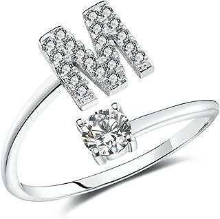 Letter Rings for Women Girls, Adjustable Initial Ring A-Z Silver Rings Women Ring Engagement Rings for Women Girls