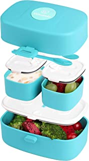 Stacking Bento Box Lunch Box 3 Compartments - Leakproof Bento Lunch Box - Microwave & Dishwasher Safe Bento Boxes for Kids - BPA-Free Bento Box for Portable Meals and Snacks