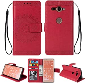 HCUI Leather Case for Sony Xperia XZ2  Ultra Slim with Magnetic Closure  Retro Vintage  Leather Wallet Stand Flip Case for Sony Xperia XZ2 Red