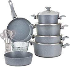 Turkish Granite Cookware Set 18 Pcs with Service Set - Steel Lids - Grey