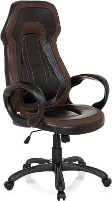 hjh OFFICE 621920 Silla Gaming JAMARO Vintage Piel sintética Negro/marrón Silla de Escritorio