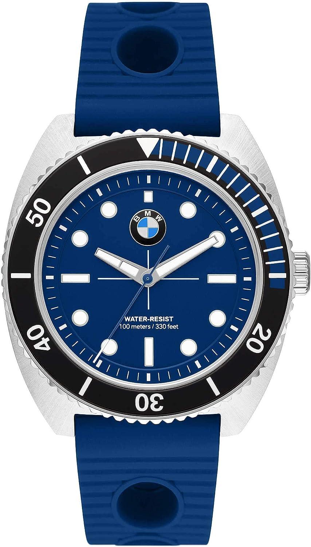 BMW Motorsport Reloj de Pulsera para Hombre   Acero Inoxidable y Silicona
