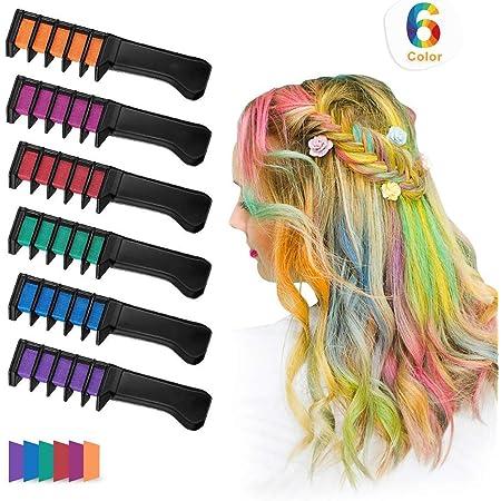 Xiton 6 Colores/Set Tinte Pelo NiñAs Temporal Tizas Para El Pelo Peine Lavable No TóXico Del Color Pelo Para El Color De Pelo Brillante Vibrante Tinte ...